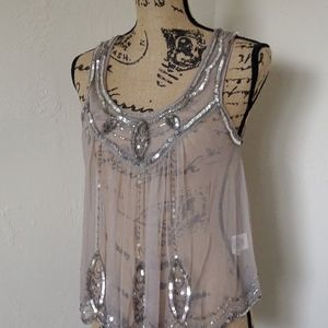 Free People Tops - Free People Sheer Nude Sequin Tank Top Size Small